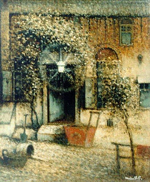 Daalhoff H.A. van | A courtyard, oil on canvas 46.7 x 39.5 cm, signed l.r.