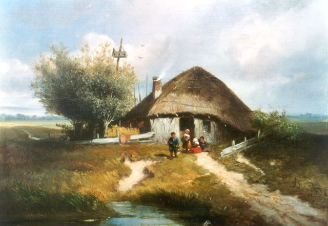 Jan Gerard Smits | Children in a landscape, oil on panel, 22.0 x 28.3 cm, signed l.r. and dated '53