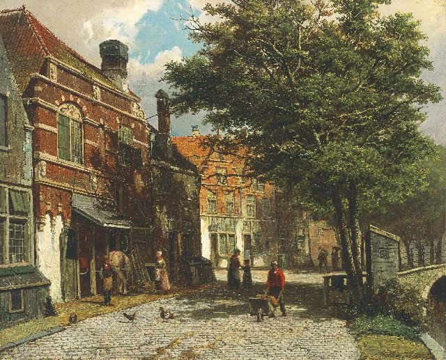 Willem Koekkoek | A view of a Dutch town in summer, oil on canvas, 46.3 x 56.9 cm, signed l.r.