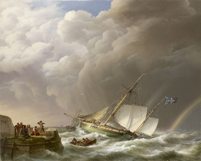 Johannes Hermanus Koekkoek | Sailing ship off a jetty in stormy weather, oil on canvas, 113.0 x 142.0 cm, signed l.l. and dated 1827