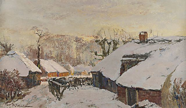 David Schulman | Laren in winter, oil on canvas, 35.9 x 60.0 cm, signed l.l.