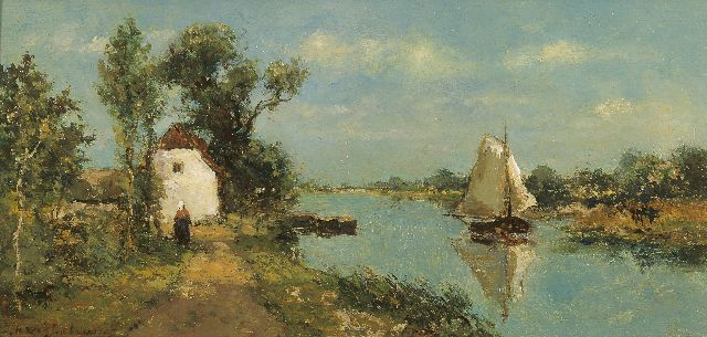 Jan Hendrik Weissenbruch | Sailing boats in the polder, oil on panel, 14.7 x 30.2 cm, signed l.l. and te dateren ca. 1889