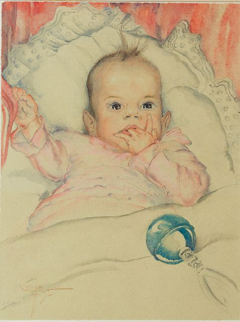 Verhorst A.J.  | A baby's portrait of Emmie Reijnders, pencil and watercolour on paper 44.5 x 33.5 cm, signed l.l. and dated '35