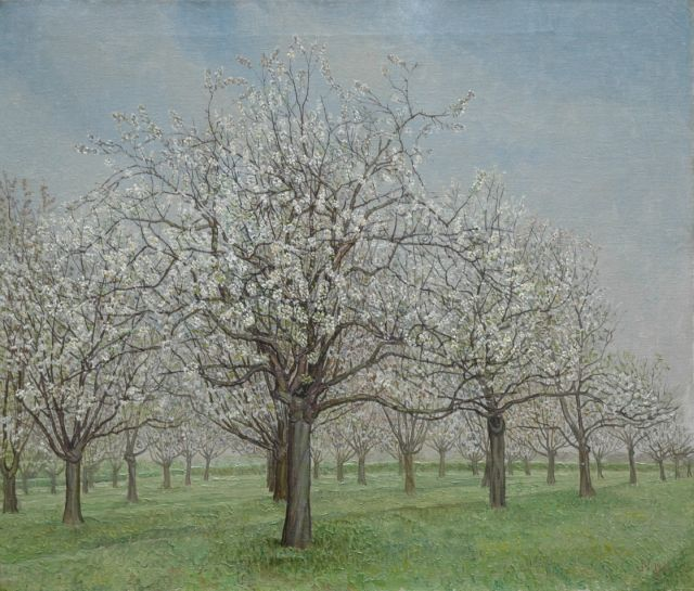 Jakob Nieweg | An orchard in blossom, Betuwe, oil on canvas, 60.5 x 70.4 cm, signed l.r. with monogram and dated 1931