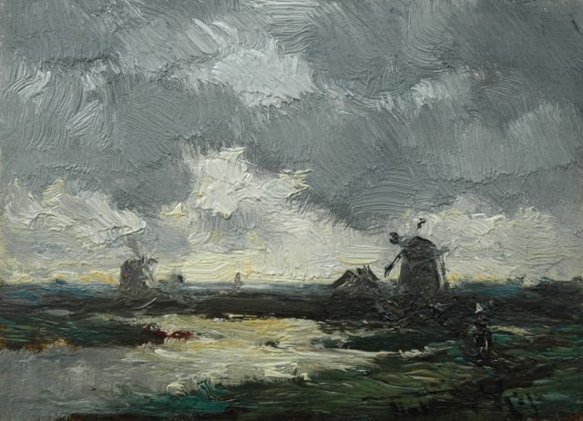 Willem Rip | Evening clouds, oil on panel, 11.5 x 16.0 cm, signed l.r.