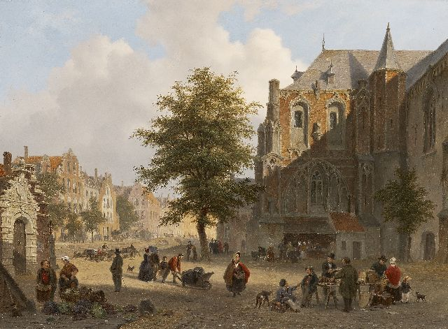 Bart van Hove | Busy market place in a small Dutch town, oil on panel, 42.2 x 56.7 cm, signed l.r. and dated 1852