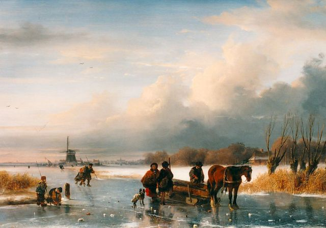 Nicolaas Johannes Roosenboom | Figures and a 'koek en zopie' on the ice, oil on panel, 30.7 x 43.7 cm, signed l.l.