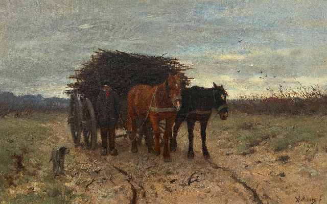 Mauve A.  | Wood gatherer with horse-drawn cart, oil on canvas 33.8 x 54.1 cm, signed l.r. and painted 1875-1880