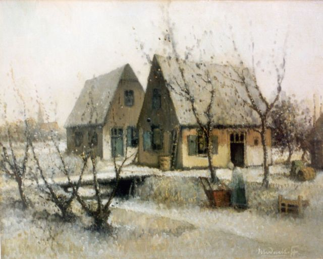 Daalhoff H.A. van | A farm in winter, oil on canvas 37.2 x 46.2 cm, signed l.r.