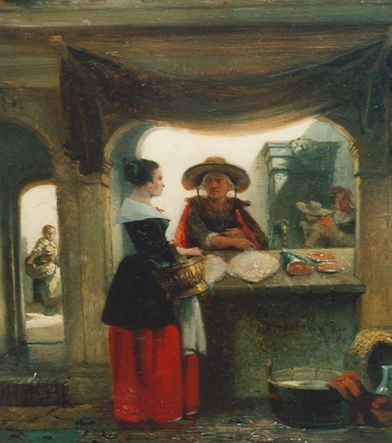 Johannes Anthonie Balthasar Stroebel | The fishmonger, oil on panel, 20.1 x 18.2 cm, signed m.r. and dated '59