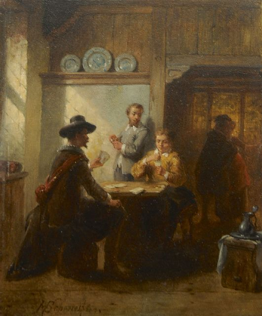 Hendricus Johannes Scheeres | Card players and a courtship in an Old Dutch interior, oil on panel, 18.6 x 15.1 cm, signed l.l. and dated '63