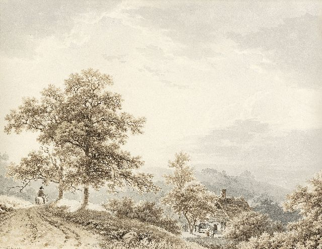 Koekkoek B.C.  | Traveller in a hilly landscape, sepia and washed ink on paper 21.2 x 27.4 cm, signed l.l. and painted ca. 1833-1840