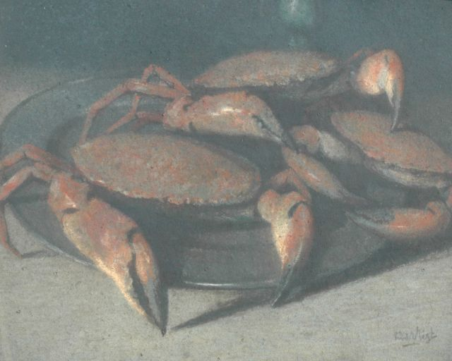 Leendert van der Vlist | Still life with crabs, pastel on paper, 68.0 x 83.0 cm, signed l.r.
