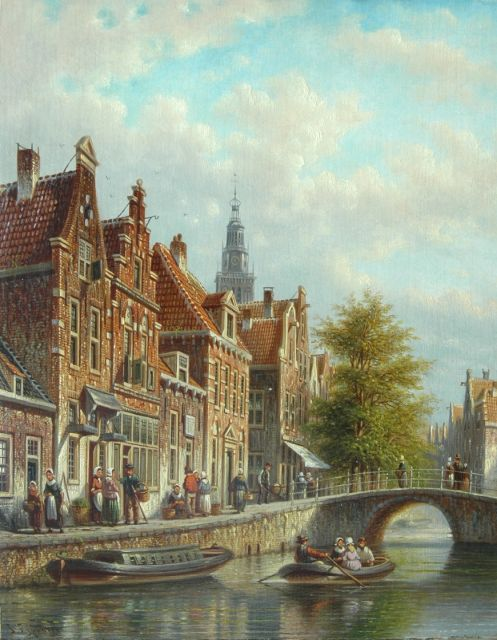 Johannes Franciscus Spohler | Dutch canal with the tower of the Waag, Alkmaar, oil on panel, 26.3 x 20.7 cm, signed l.l.