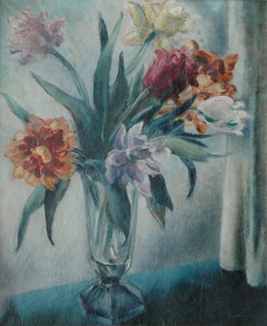 Mommie Schwarz | Tulips in a glass vase, oil on canvas, 55.0 x 46.1 cm, signed l.r.