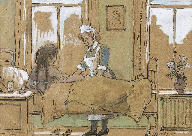 Harm Kamerlingh Onnes | In the hospital, pencil, pen and watercolour on paper, 20.3 x 28.9 cm, signed l.r. with monogram and dated '51