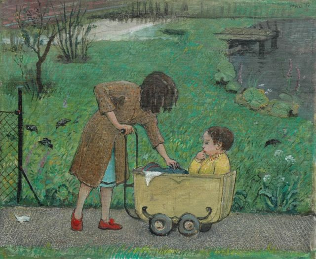 Harm Kamerlingh Onnes | A nanny, oil on canvas laid down on board, 29.0 x 35.0 cm, signed u.r. with monogram and dated '51