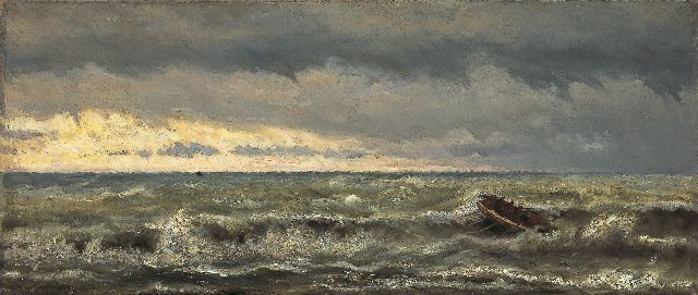 Hendrik Willem Mesdag | Lifeboat in the surf, oil on canvas, 44.4 x 103.5 cm, signed l.l. and dated 1869