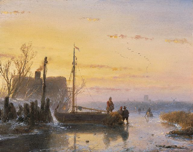 Andreas Schelfhout | Skaters near a frozen up fishing boat, oil on panel, 15.1 x 19.1 cm, signed l.l. and painted circa 1850