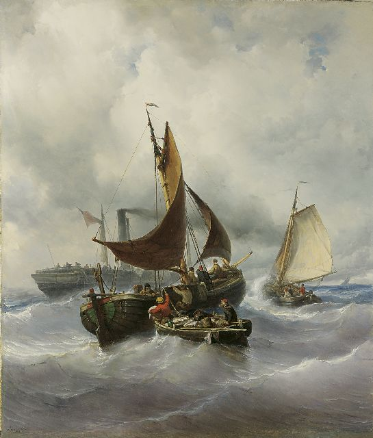 Louis Meijer | Transfering the catch, oil on canvas, 147.3 x 125.5 cm, signed l.l. and dated 1848