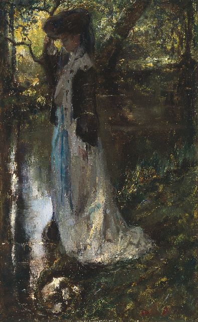 Albert Roelofs | Elegant young woman near a stream, oil on panel, 39.5 x 25.0 cm