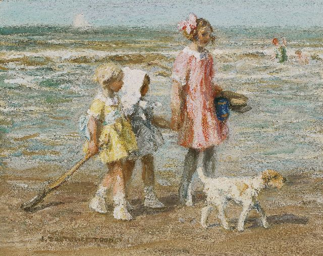 Jan Zoetelief Tromp | Girls on the beach, oil on canvas, 40.5 x 51.0 cm, signed l.l.
