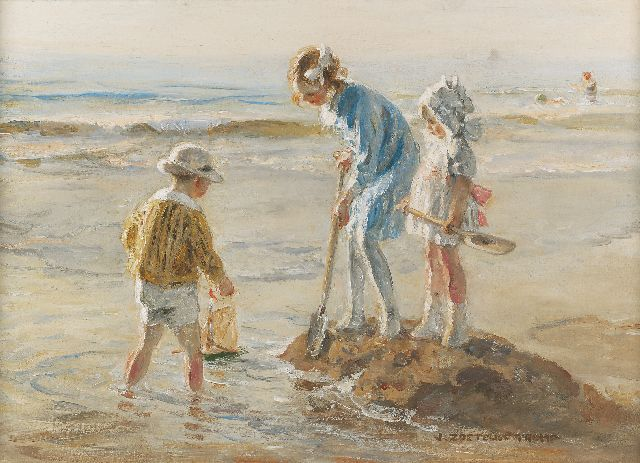 Jan Zoetelief Tromp | Children playing on Katwijk beach, oil on canvas, 40.5 x 56.5 cm, signed l.r. and sold
