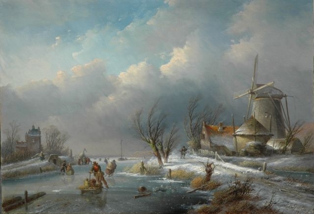 Jan Jacob Spohler | Winter landscape with windmill, skaters and a refreshment stand, oil on panel, 36.3 x 51.6 cm, signed l.r. and dated '59