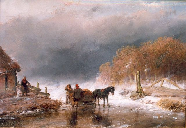 Andreas Schelfhout | A horse sledge with figures on ice, oil on panel, 15.8 x 23.0 cm, signed l.l. and painted ca. 1860