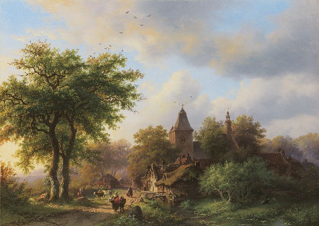 Frederik Marinus Kruseman | A woody country road along a village, oil on panel, 29.5 x 41.0 cm, painted in 1857