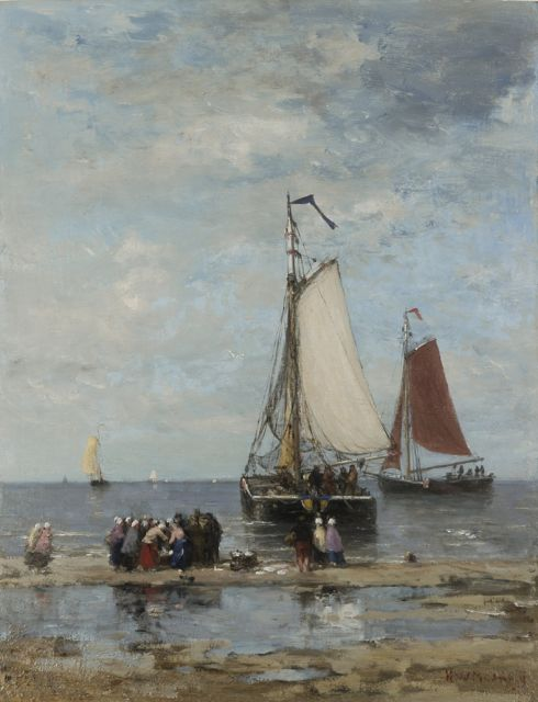 Hendrik Willem Mesdag | Fisher-folk and 'bomschuiten on the beach, oil on panel, 51.2 x 39.7 cm, signed l.r.