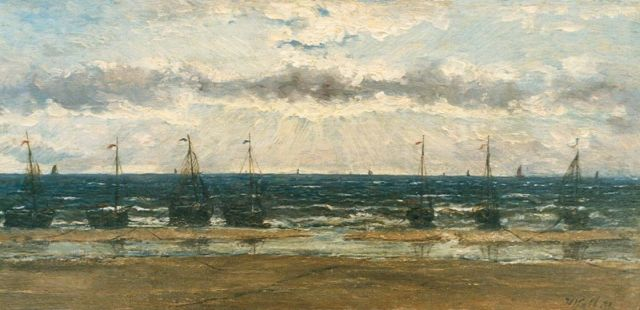 Hendrik Willem Mesdag | 'Bomschuiten' on the beach, oil on canvas laid down on panel, 13.9 x 29.0 cm, signed l.r. with initials and dated '71