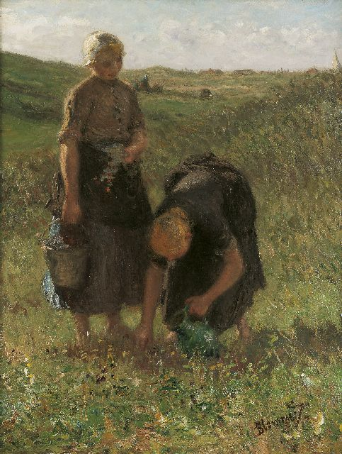 Bernard Blommers | Picking flowers in the dunes, oil on canvas, 71.7 x 56.0 cm, signed l.r.
