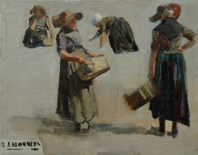 Bernard Blommers | Fish seller from Katwijk, a study, oil on canvas, 29.6 x 37.5 cm, signed l.l.
