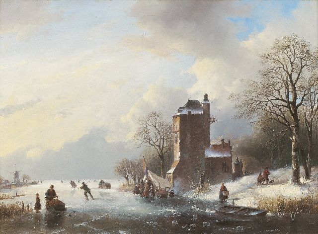 Jan Jacob Spohler | View of a frozen river with an icebound rowing boat, oil on panel, 43.0 x 58.7 cm, signed l.r. on rowing boat and painted 1842