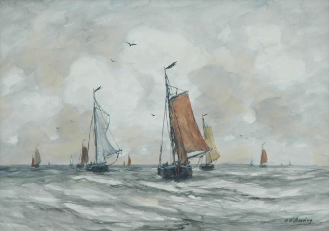 Hendrik Willem Mesdag | 'Bomschuiten' in full sail, watercolour on paper, 40.5 x 56.5 cm, signed l.r.