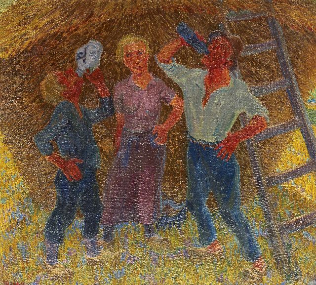 Henk Melgers | Drinking peasants, Drenthe, oil on canvas, 68.3 x 74.6 cm, signed l.l. and on the reverse and painted ca. 1928