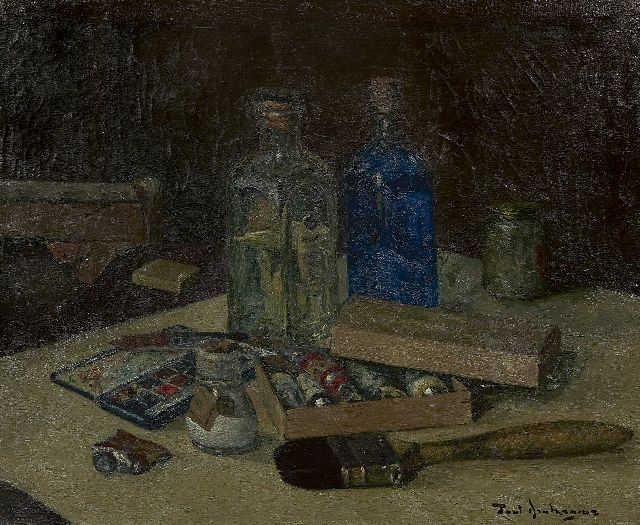 Paul Arntzenius | Still life of painting attributes, oil on canvas, 35.1 x 42.8 cm, signed l.r. and dated on stretcher 1943
