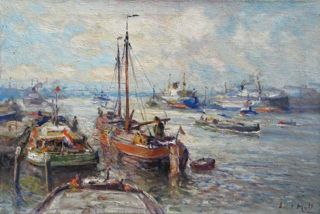 Evert Moll | Ship traffic at Rotterdam's harbour, oil on canvas, 40.4 x 60.0 cm, gesigneerd r.o.