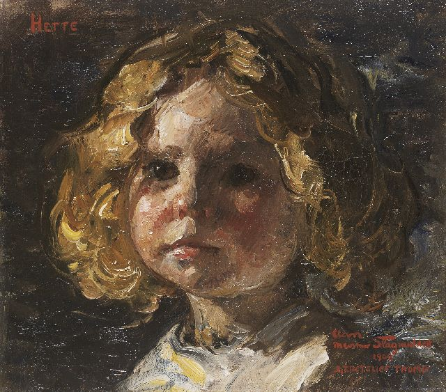 Jan Zoetelief Tromp | Portrait of Hette, daughter of the painter, oil on canvas, 27.8 x 31.6 cm, signed l.r. and dated 1909
