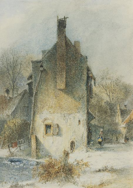 Andreas Schelfhout | A Dutch town view in winter, pen, brown ink and watercolour on paper, 37.9 x 27.0 cm