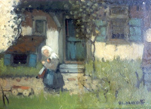 Henri van Daalhoff | A little girl on a farmyard, oil on panel, 12.0 x 16.0 cm, signed l.r. and dated 1904