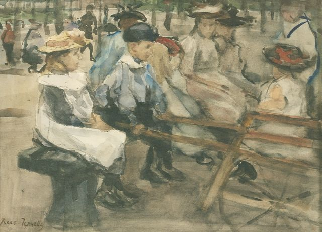 Israels I.L.  | Children in the park, watercolour on paper, 25.5 x 35.5 cm, signed l.l. strenghten and circa 1895