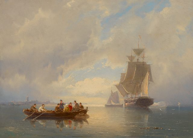 Dommershuijzen P.C.  | A war craft firing a salute off the coast, oil on canvas 27.5 x 38.1 cm, signed l.l. indistinctly and dated 1884