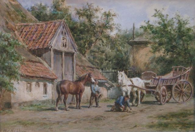 Willem Carel Nakken | Putting the horses to the carriage, watercolour on paper, 28.3 x 39.2 cm, signed l.l.