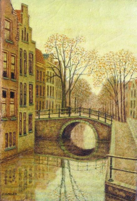 Sal Meijer | A canal in Amsterdam, oil on canvas, 30.6 x 21.2 cm, signed l.l.