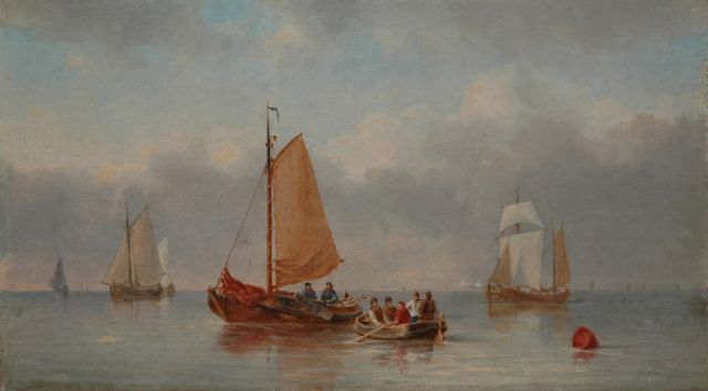 Carl Eduard Ahrendts | Sailing ships in a calm, oil on panel, 13.9 x 24.6 cm