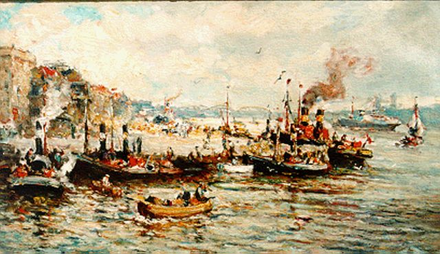 Evert Moll | Moored boats, Rotterdam, oil on canvas, 60.5 x 100.7 cm, signed l.r.