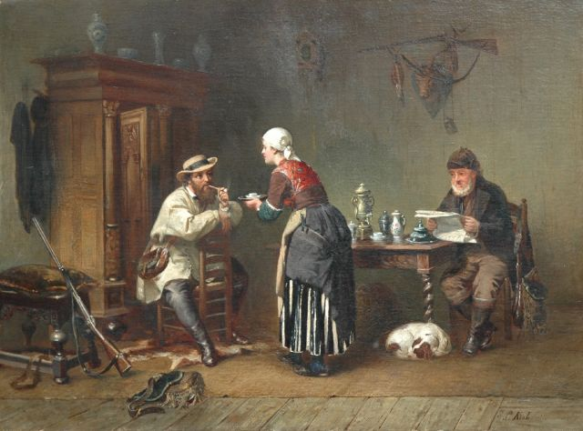 Sipke 'Cornelis' Kool | A hospitable welcome, oil on canvas, 59.0 x 79.7 cm, signed l.r. and verso