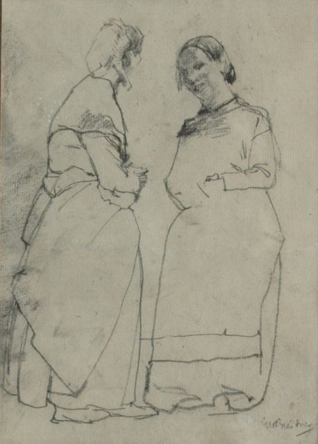 George Hendrik Breitner | Two servants busy talking, black chalk on paper, 23.5 x 16.5 cm, signed l.r.